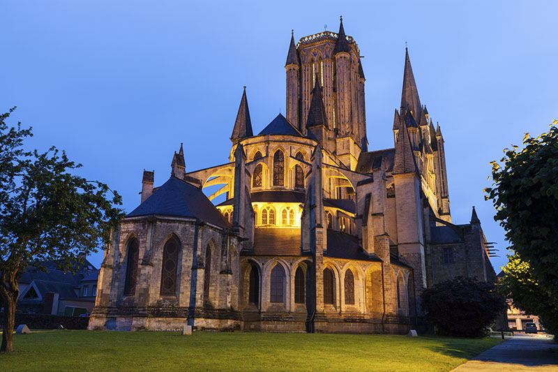 Coutances Cathedral at night. Coutances, Normandy, France