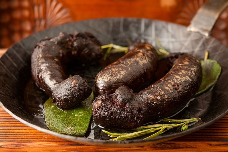 Roasted Black Pudding in Frying Pan